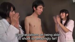 Subtitled JAV actor audition CFNM handjob explosive cumshot