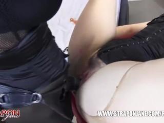 Femdom Strapon Jane spanks slut pussy toys face fucks and missionary sex