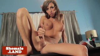 Bigtitted tgirl masturbating on bfs desk