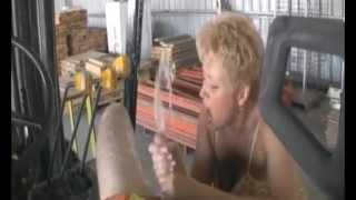 Jerking off the worker
