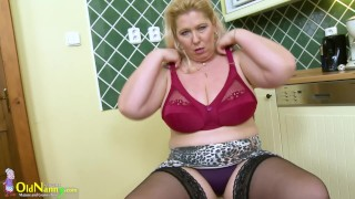 OldNannY Busty Mature Solo Play in the Kitchen