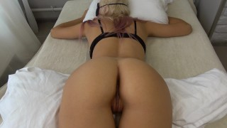 Screen Capture of Video Titled: Teen step sister wakes up to a hard cock