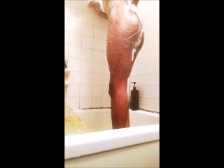 Skinny Teen BBC Puts On A Show In The Shower
