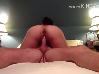 Sexy mature woman riding husband 's cock