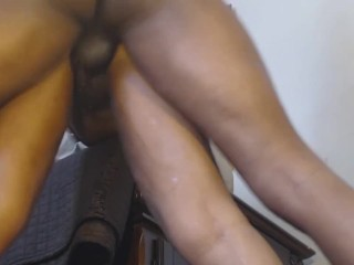 ROYALTY SQUIRTS ON HER KING LOYALTY BIG CHOCOLATE DICK!!