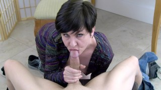 Screen Capture of Video Titled: Your Cocksucking Marriage Counselor - MILF blowjob and sloppy oral creampie
