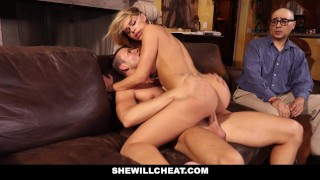 She Will Cheat - Cuckold Husband Watches Wifes Pussy Get Destroyed