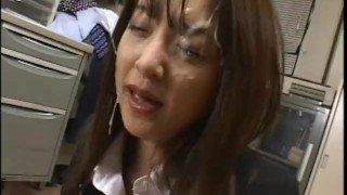 Japanese brunette MILF takes a lot of sperm from group of man