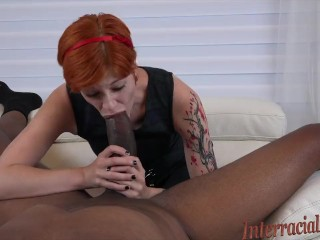 Tiny Cute Redhead takes Dredd 's massive BBC and creams all over it!