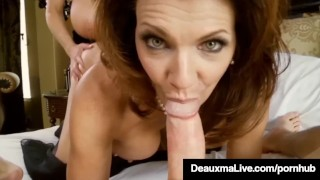 Screen Capture of Video Titled: Sexy Milf Deauxma Blindfolds Kelly Madison & Fucks Hubby!