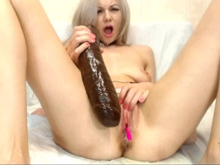 Squirt from Moon Christine with big Brown Dildo