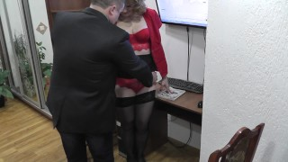 Screen Capture of Video Titled: Office secretary. Boss fucks secretary and cumshot. Office camera