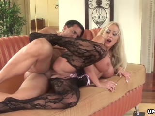 Stunning busty blonde getting a creampie in her ass hole