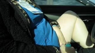 Brenda masturbating in her car before work.