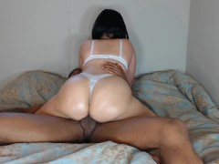 Big booty white girl ride's BBC w/ thong on & gets cummed in!