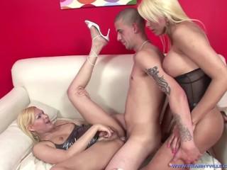 2 Slutty Brazilian Shemales Sheyna & Sharon Get Fucked By Big Dick Stud!