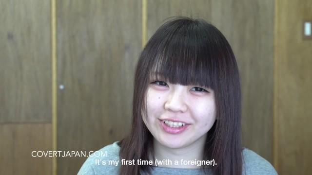 Super Shy Japanese Kurumi Spreads Legs for White Guy - Covert Japan