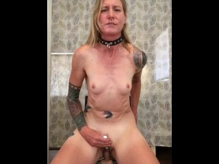 Blonde Athletic Slave Girl Riding Chair Dildo