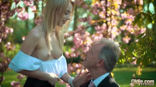 Young blonde moaning fucking an old man she swallows his cumshot