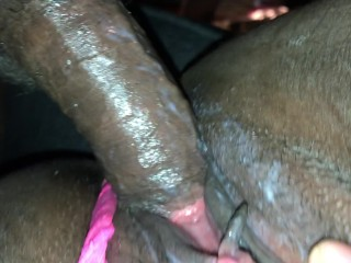 Fucking my creamy tight pink pussy while his girlfriend is in the shower!