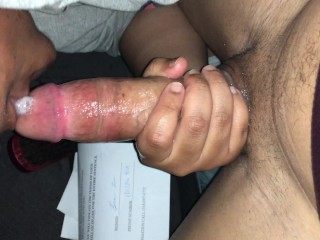 Did you just nut in my mouth!? Caught Ebony with cum surprise in her mouth
