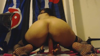 Removing Panties off Hairy Pussy and Riding Dildo Hard from Behind