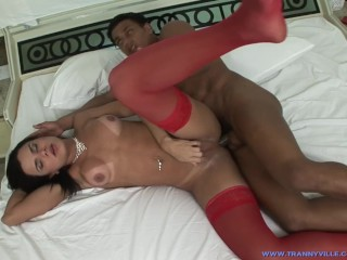 Sexy TS Slut & Star Hilda Brasil Shows Off Her Fit Body While Guy Fucks Her