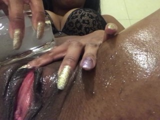 Shaving my hairy pussy - LONG LIPS