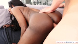 Ebony MILF Takes Big White Cock In Pussy & Ass