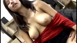 Big boob Asian cutie fucked in the back room at work