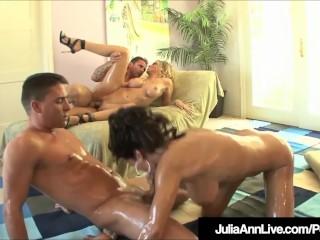 Horny Hot Milfs Julia Ann & Lisa Ann Bang 2 Hard Cocks!