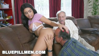 Screen Capture of Video Titled: BLUE PILL MEN - Gorgeous Black Pornstar Aaliyah Hadid Fucks Old Men