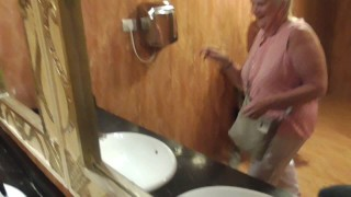Screen Capture of Video Titled: Grandmother surprised by unstoppable ejaculation in public! pornhub