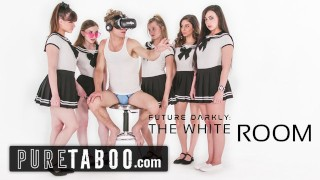 Screen Capture of Video Titled: PURE TABOO Pervert Busdriver Clones Schoolgirls into VR Group Sex Acts
