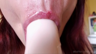 Clip ASMR A wet and slow dildo blowjob close-up, hands free and moaning TEASER
