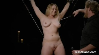 Bound And Suspended Big Titted Blonde Is Tickled And Teased With Toys