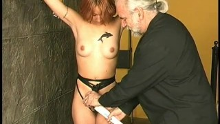 Master Len with his sexy girl slave pussy and tits torture
