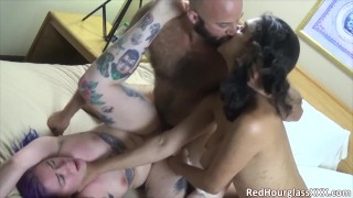 Real kinky couple get to tag-team a goth slut in fun, rough threesome