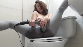 Screen Capture of Video Titled: Cute College Girl Squirts in her leggins