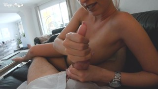 Amateur POV handjob with big tits and nice cumshot
