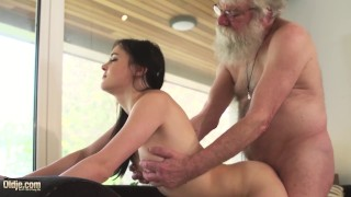 Old and girlfriend rides grandpa cock makes him cum hard