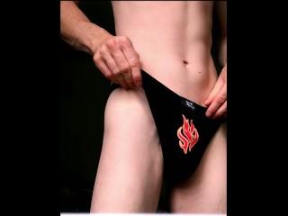 Underwear show - twink boy wanks his nice dick