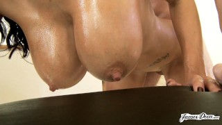 OILED UP FRENCH COUGAR AVA ADDAMS MILKING A COCK WITH HER BIG MILF TITS