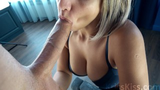 Screen Capture of Video Titled: Blowjob for Huge Cock! Amazing!