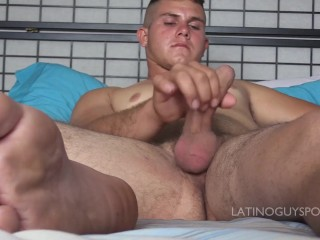 Sexy latin papi Dyron shows us cock and cum