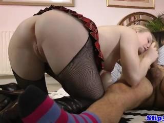 UK schoolgirl tugging and riding oldmans dick