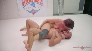 Screen Capture of Video Titled: MILF fucks her husband after she wins Mixed wrestling fight