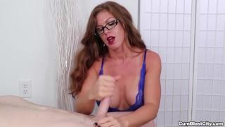 Sexy milf gets splattered with cum