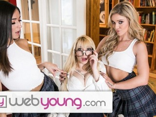 WebYoung 2 College Lesbian Girls & 1 Innocent Blonde Teen Nerd