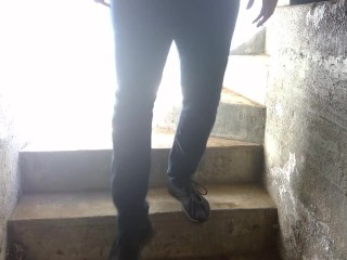 Took a Smoke Break and Jerked Off in a Filthy Stairway: ALMOST CAUGHT